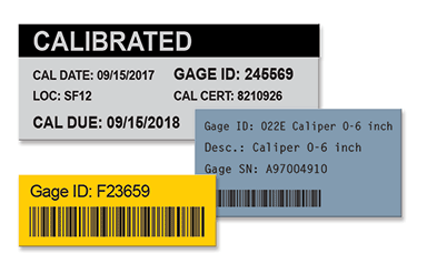 Color-coded calibration labels